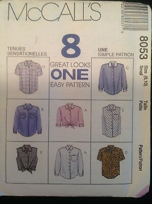 Pattern McCall's 8053, misses' shirts, sleeve var. collared, Sz 8-10