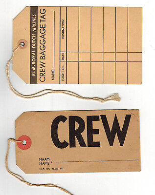 Vintage 1950's KLM Royal Dutch Airlines CREW Luggage Tags