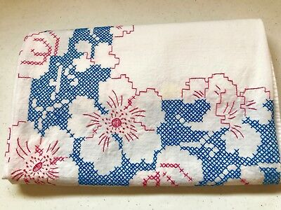 """Vintage Cross Stitch Tablecloth Muslin/Cotton Handcrafted Tablecloth 54""""L X 48""""W"""