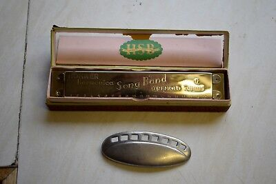 Hohner harmonica Song Band Model in its case Vintage with Harmonica pin badge
