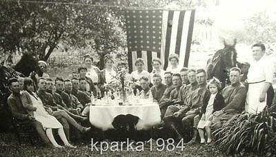"""PATRIOTIC WW1 REAL PHOTO 6"""" x 8"""" FRAMED SOLDIERS PICNIC NEW ENGLAND VILLAGE"""