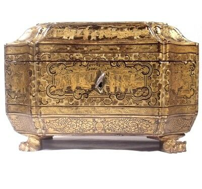 STUNNING c1840 CHINESE BLACK LACQUERED TEA CADDY GOLD GILT HAND DECOR BOX