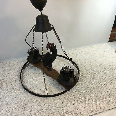 Vintage Rooster Hanging Light Chandelier Farmhouse Cast Iron Wood 2 Lights
