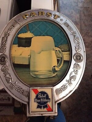 Pabst Blue Ribbon Beer Lighted Sign Embosograph Man Cave Bar PBR Beer Mug Cheese