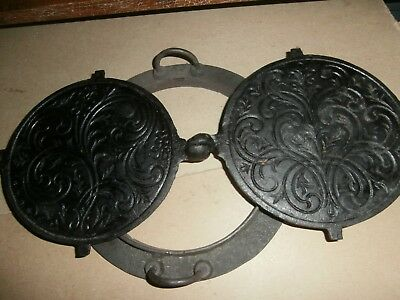 Antique Cast Iron Ornate Waffle Crepe Maker With Base