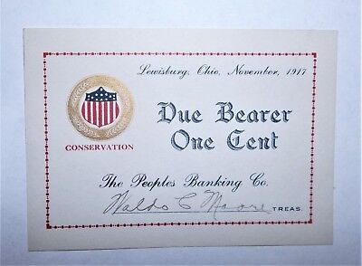 1917 The People's Banking Company One cent note, Lewisburg, Ohio, CU