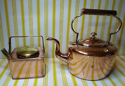 1 Antique Copper Kettle & 1 Antique Industrial Screw Lid Can & Funnel - Quality