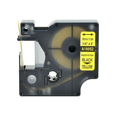 """1 Heat Shrink Tube Label IND Tape Black on Yellow 18052 For Dymo Rhino 1000 1/4"""""""