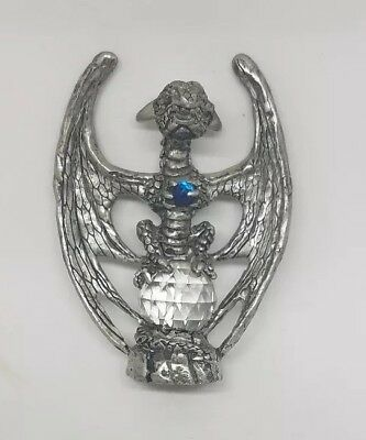 Pewter Dragon Holding Blue Crystal Ball and Sitting on Crystal Ball