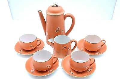 SHOWA Nippon MORIAGE Porcelain Hand Painted Gold red floral TEA SET porcelain
