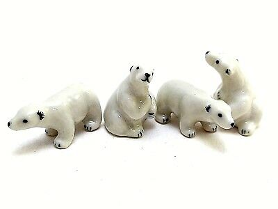 4 X Dollhouse Miniatures Ceramic Tiny White Bear Animals Figurines Collectibles