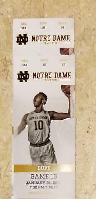 Duke at Notre Dame Basketball Tickets, January 28, 2019 - Two fantastic seats