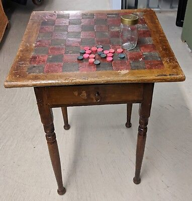 Unique Vintage Antique Checker Board Game Table with Drawer
