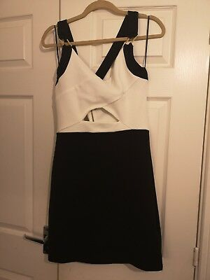 Womens Black And White Cutout Crossback Bodycon Dress Size 16 River