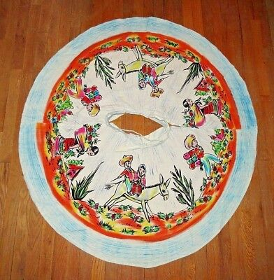 Vintage 1950s Hand-Painted Mexican Circle Skirt Vtg. Size 12