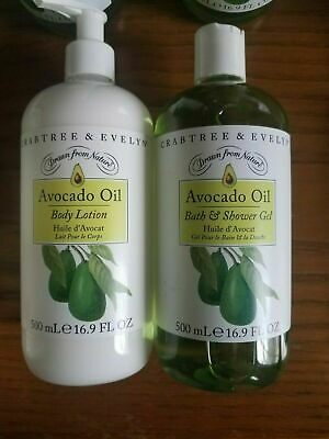 ❤Free Ship❤  New Crabtree & Evelyn Avocado Oil Body Lotion + Gel 16.9oz