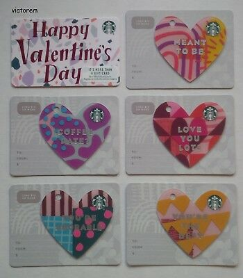 Starbucks Card 2019 Valentines Day Complete 6-Card Set