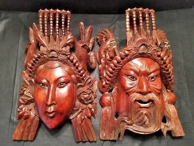 Antique 19C Chinese Rosewood Hand Carved Mask Tibetan Emperor Empress Dragons
