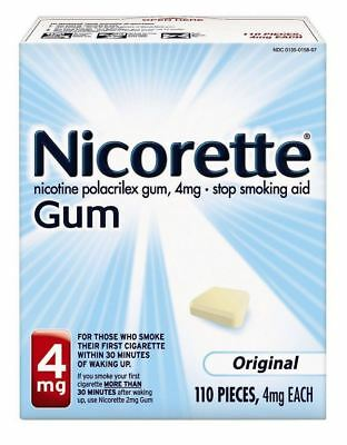 Nicotine Polacrilex Gum 4 mg Original 110 Pieces Nicorette Exp 04/19 New
