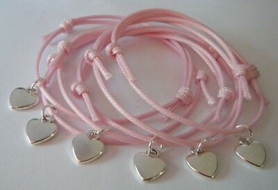x6 HEART CHARM BRACELETS PARTY BAG FILLERS WEDDING FAVORS HEN PARTY GIFTS