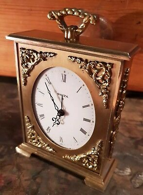 Ornate Vintage Swiza 8 Day Carriage Mantle Alarm Clock Brass Cased lovely thing.