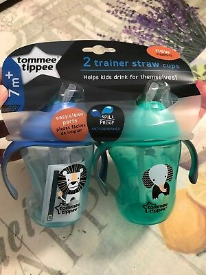 NEW!! Tommee Tippee Trainer Straw Cup. Qty 2. Cute Blue And Green Design 8 Oz