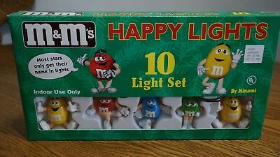 Vintage M&M set of 10 candy Happy Lights Christmas Party Garland
