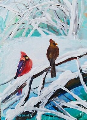 Aceo Original Cardinal Red Bird Winter Snow Painting By Artist Norman Courtney