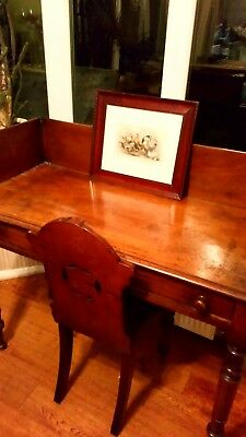 Antique desk, framed antique print and antique chair sold as lot