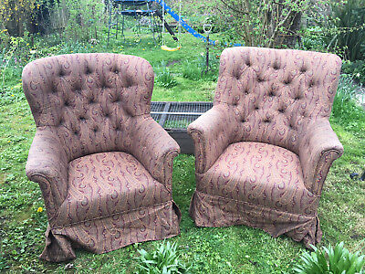 Two Vintage Edwardian Lounge chairs