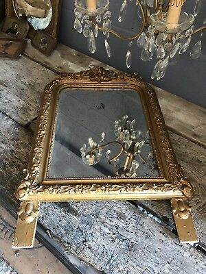 Antique Foxed Arched Louis Philippe Marriage Mercury Mirror Gold Gilt Victorian