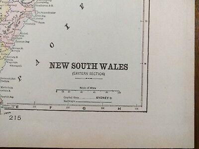 "Vintage 1900 NEW SOUTH WALES Map 11""x14"" Old Antique SYDNEY NEW CASTLE MAPZ"
