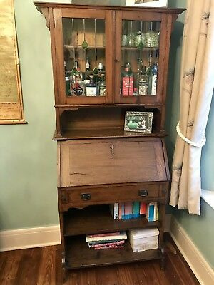 An Antique/ Vintage Oak Art Deco Glazed Bureau Bookcase Desk