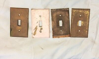 4 Vintage Brass Single Wall Light Switch Plate Covers