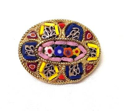 Vintage Jewellery  Lovely Colourful Oval Micro Mosaic Brooch Pin