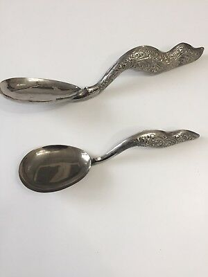 Vintage Indian /Sri Lankan  Decorative Silver / Silver Plated Serving Spoons
