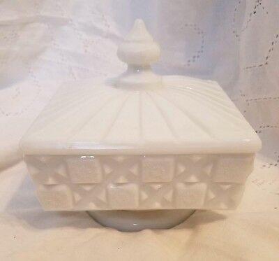 Vintage White Milk Glass Candy Dish With Lid 2250 Picclick