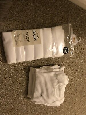 M&s Newborn Bodysuits Vest White Bnwt