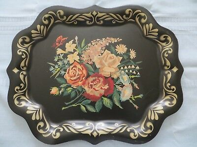 """Vintage Metal Toleware Tole Tray Hand Painted Floral  19"""" x 15"""""""
