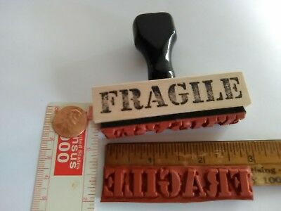 RUBBER STAMP vintage 1955 style wood knob yet NEW ! Office, business  FRAGILE