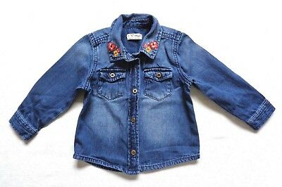 ~~Next Girls Denim Look Floral Blouse Age 12 - 18 Months