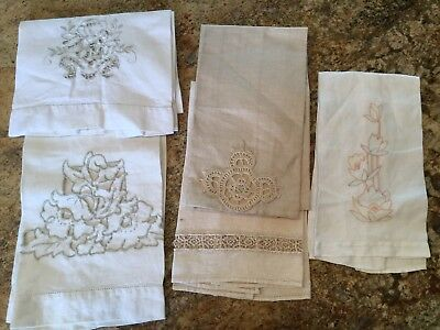 5 Vintage Linen Crochet Embroidered Lace Cutwork Hand Tea Towels