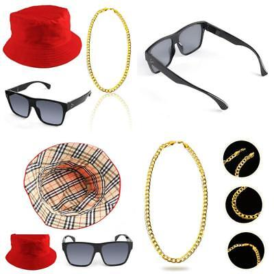 5f35fab11a9 3pcs 80s 90s Hip Hop Costume Kit Old Style Cool Rapper Outfits Bucket Hat  Oversi