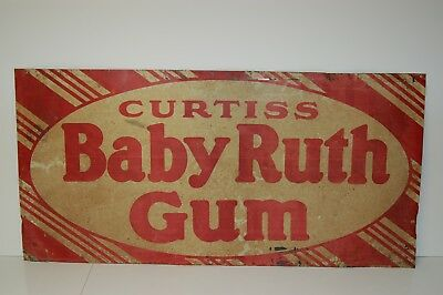 """Vintage Curtiss BABY RUTH GUM Metal Advertising Sign 34 3/4"""" x 17"""""""