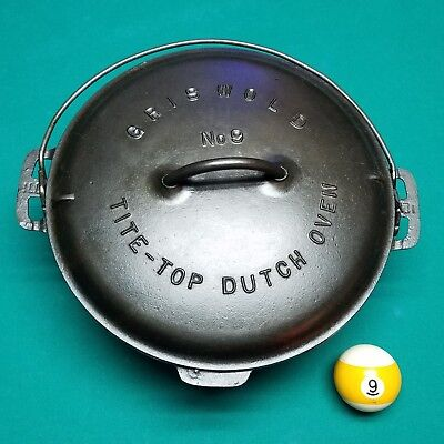 Griswold No.9 Tite Top Dutch Oven With Low Dome Wire Handle Lid. Block  Logo