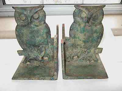 Vintage Antique Owl Bookends Pair Cast Iron Heavy Rustic Verdigris Patina