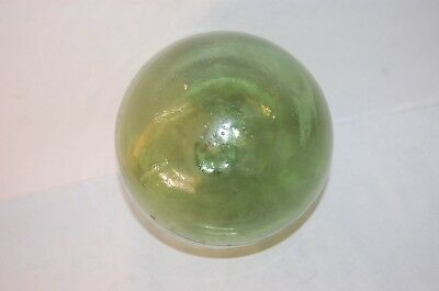 "Vintage  Japanese Light  Green Glass Fishing Buoy 5"" BALL FLOAT"