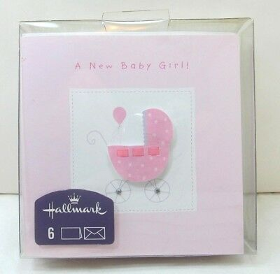 Hallmark - A New Baby Girl! Birth Announcements Set of 6 - New!