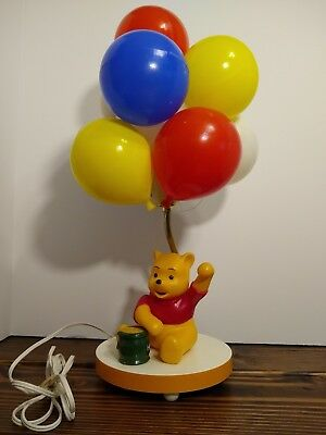 Vintage 80's Winnie The Pooh Balloon Lamp With Musicbox - Walt Disney