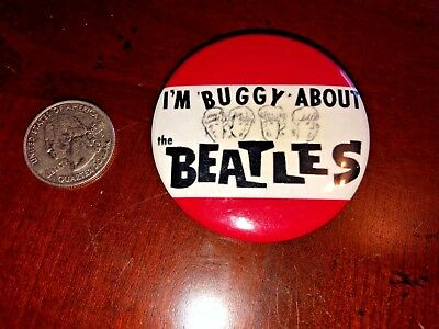 Beatles Vintage * I'm Buggy About The Beatles Fan Club Pinback Pin Button